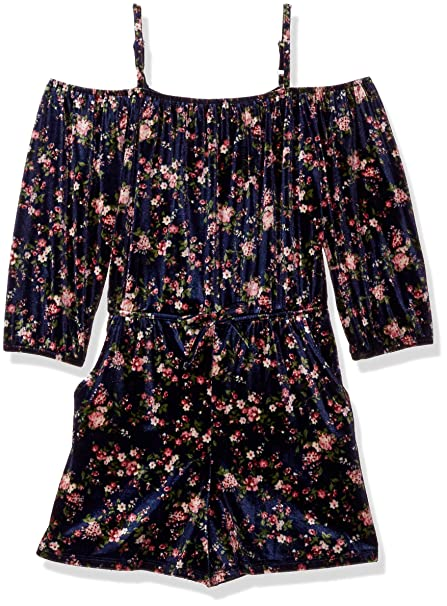 4730dcba532 Amazon.com  Amy Byer Girls  Big Print Velvet Off Shoulder Romper ...