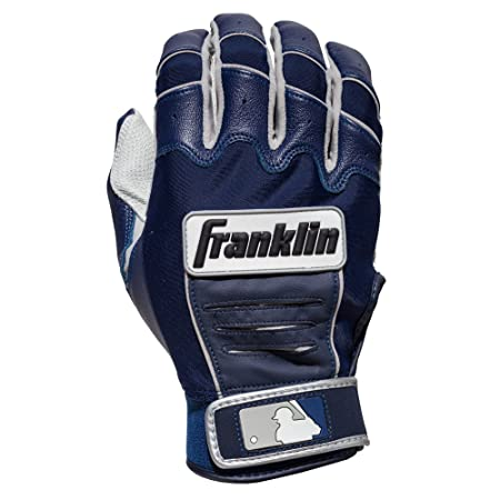 Franklin Sports Adult MLB CFX Pro Batting Gloves, Pearl/Navy, Small