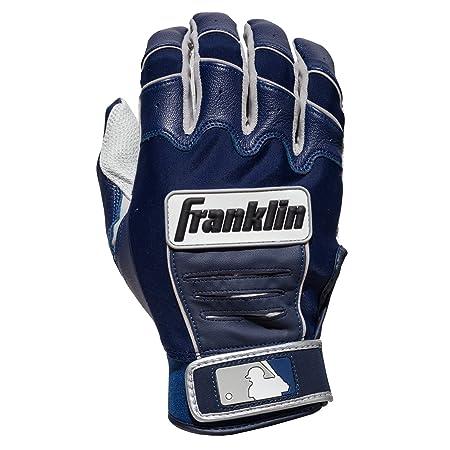 Franklin Sports Adult MLB CFX Pro Batting Gloves, Pearl/Navy, Small