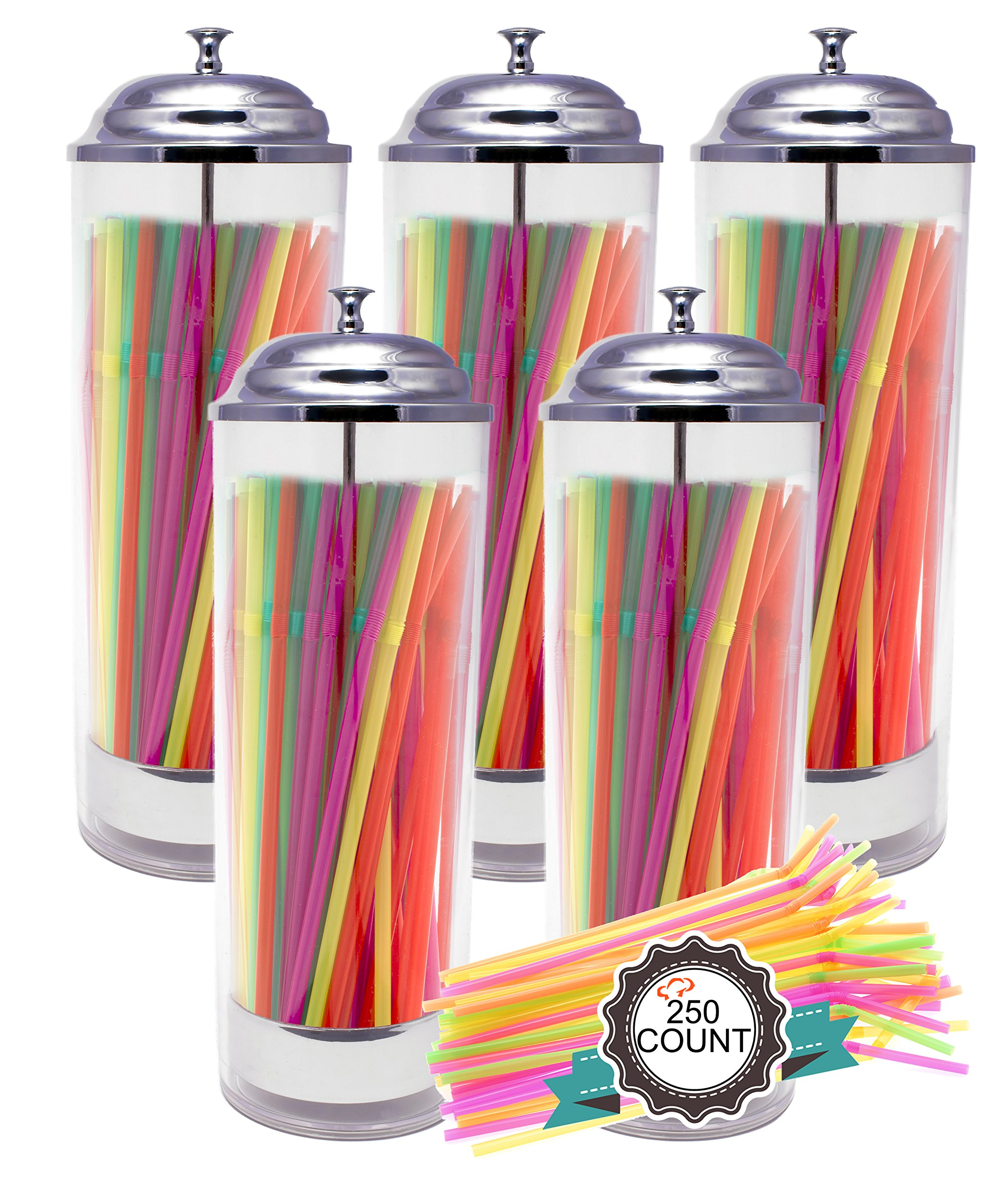 Tiger Chef 5-Pack Plastic Cylinder Straw Dispenser Holder with 50 Neon Straws, 3.5 x 10.6-Inch, Clear Plastic Pull-up Dispenser with Stainless Steel Lid and Tray by Tiger Chef