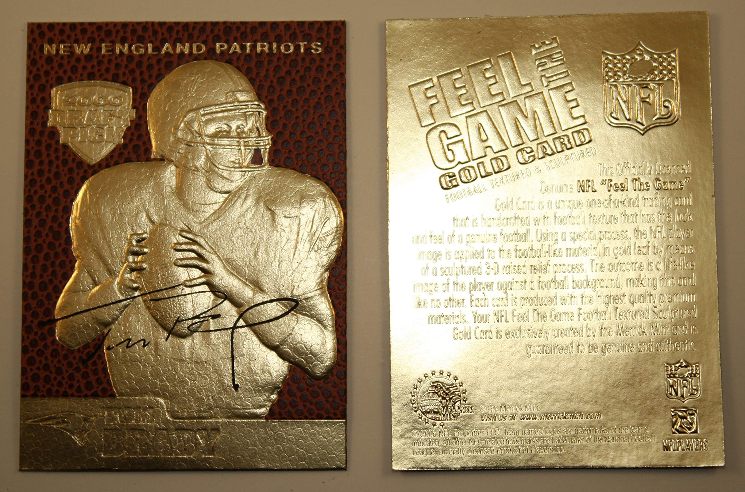TOM BRADY 2000 Draft Pick FEEL THE GAME Gold Card Rookie NM-MT Football Textured