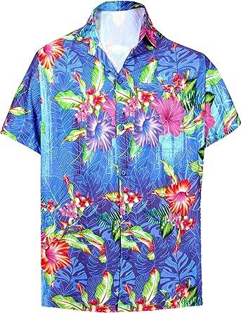 HAPPY BAY Camisa para Hombre Hawaiano de Manga Corta de la Playa de Vacaciones sólido Llano Hawaii Vestir Ciervo Informal XS- 7XL: Amazon.es: Ropa y accesorios