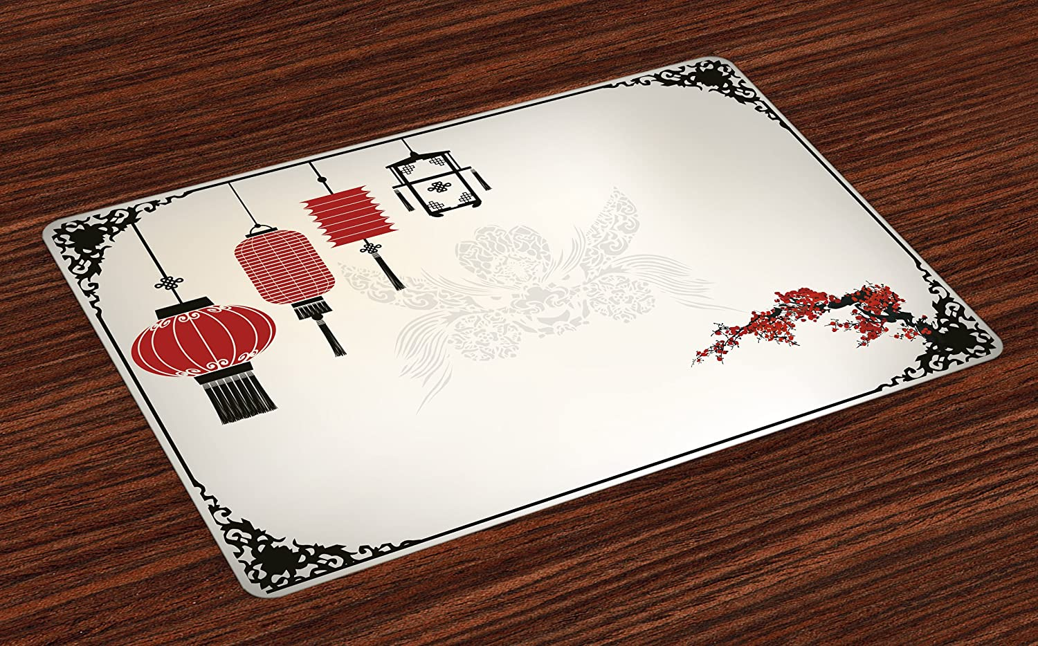 Ambesonne Lantern Place Mats Set of 4, Minimalist Chinese New Year Themed Pattern Eastern Parts of The World Print, Washable Fabric Placemats for Dining Room Kitchen Table Decor, Black White Red