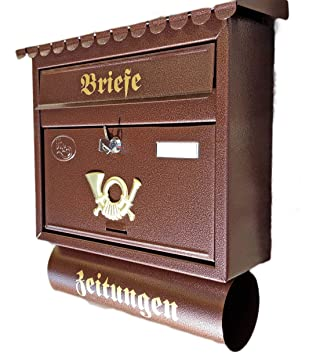 Large Letter Box With Newspaper Holdermail Box Xxl Copperbronze
