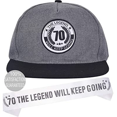 70th Birthday Gifts for Mens, 70th Birthday Party Decoration, 70th Birthday Cap and Sash, 70 The Legend Will Keep Going Hat and Sash, 70th Birthday Party Decoration and Supplies: Toys & Games