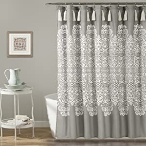 "Lush Decor, Gray Boho Medallion Shower Curtain-Fabric Bohemian Damask Print Design with Tassels, 72"" x 72"""