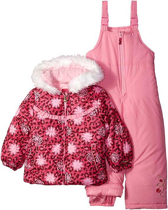 London Fog Girls' Toddler Snowsuit with Snowbib and Puffer Jacket, Rocket Pink, 3T best girls snowsuits