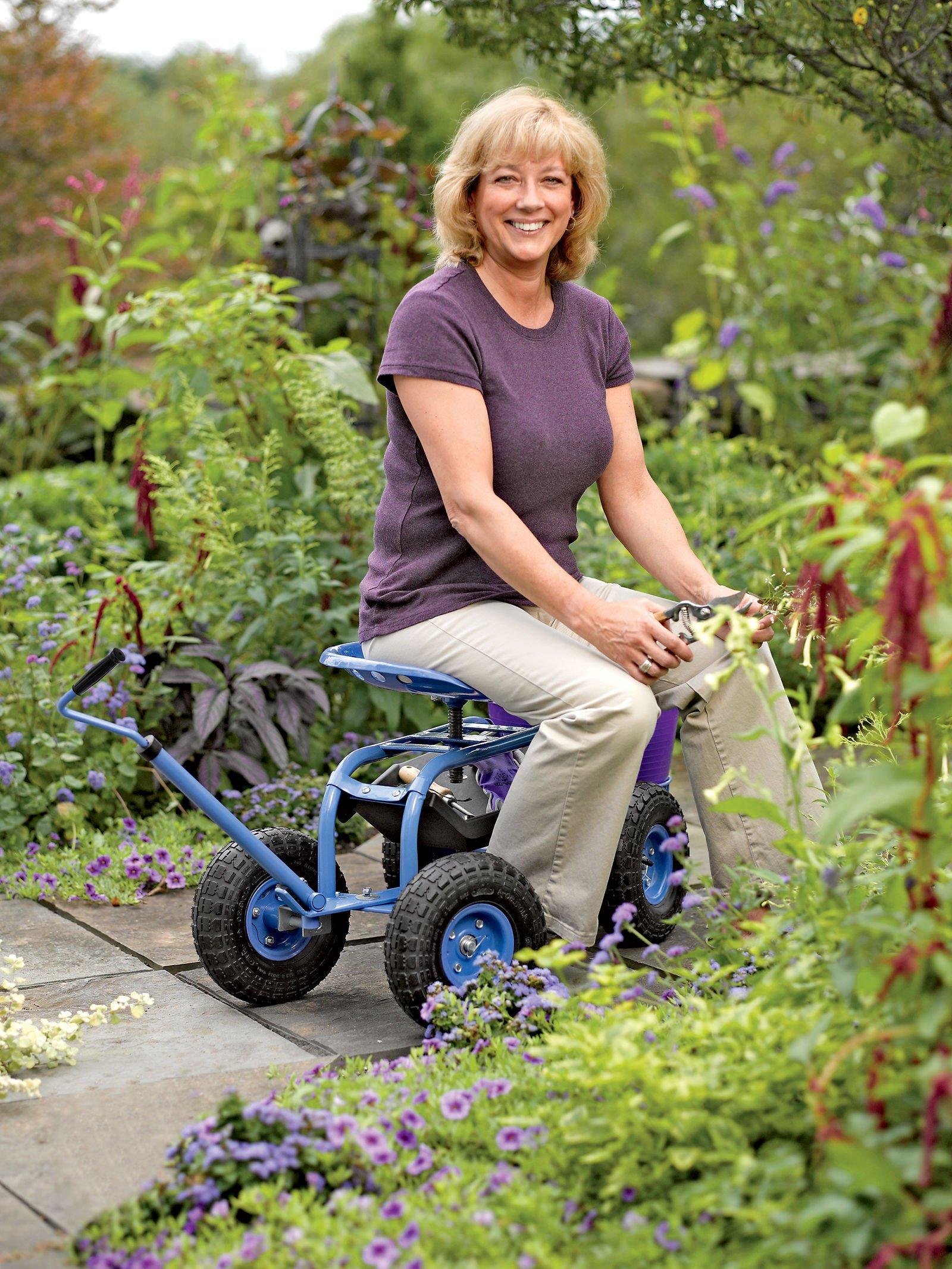Gardener's Supply Company Deluxe Tractor Scoot with Bucket Basket