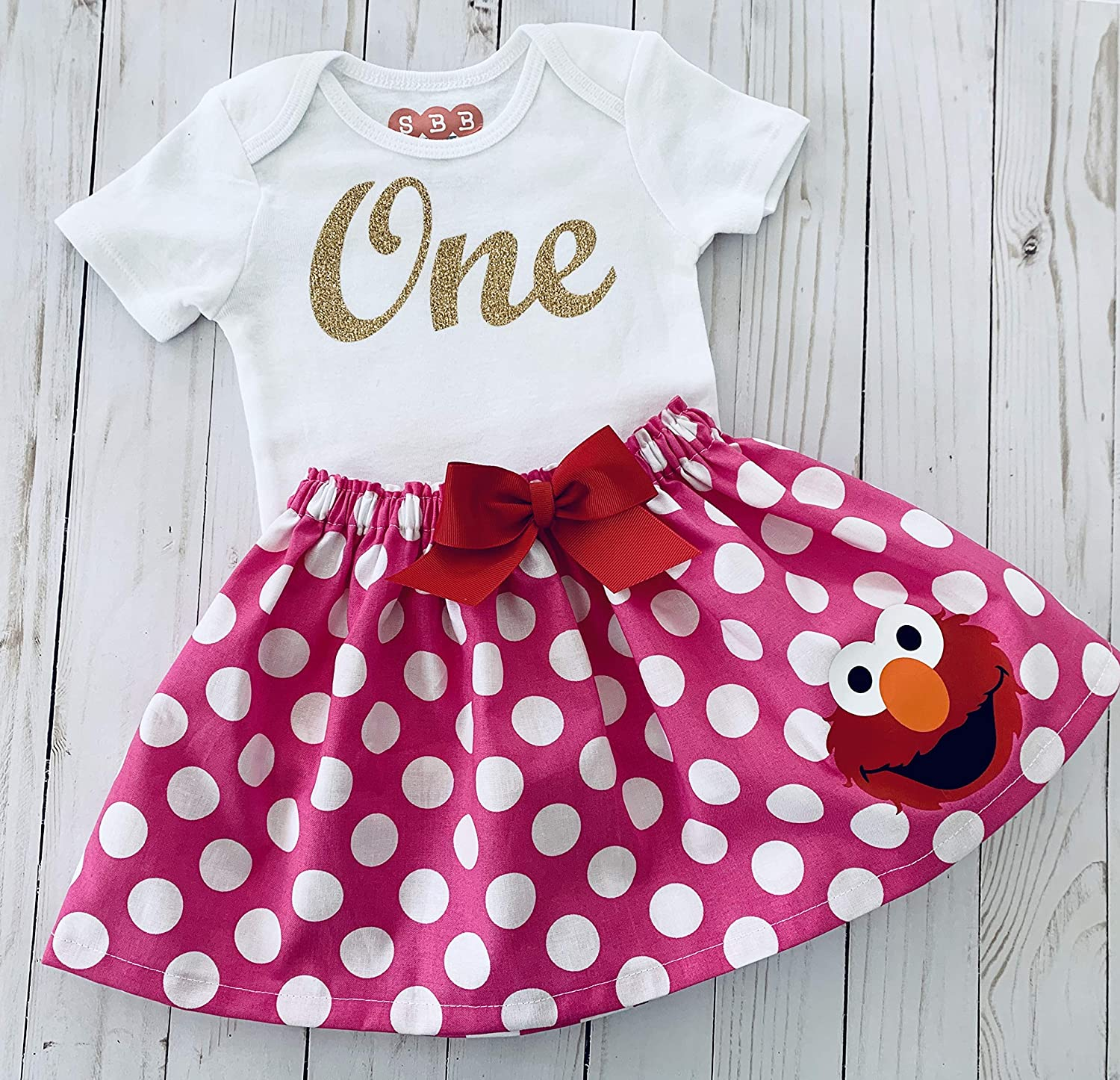 Elmo first Birthday outfit Elmo inspired pink and white polka dots skirt and Sparkle gold cursive one or two cursive top
