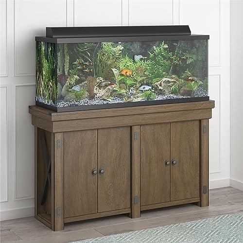 Flipper Ollie Hutch Wildwood 55 Gallon, Rustic Gray Aquarium Stand