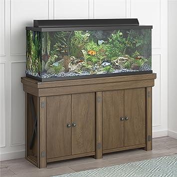 Amazon Com Flipper Ollie Hutch Wildwood 55 Gallon Rustic Gray Aquarium Stand Furniture Decor