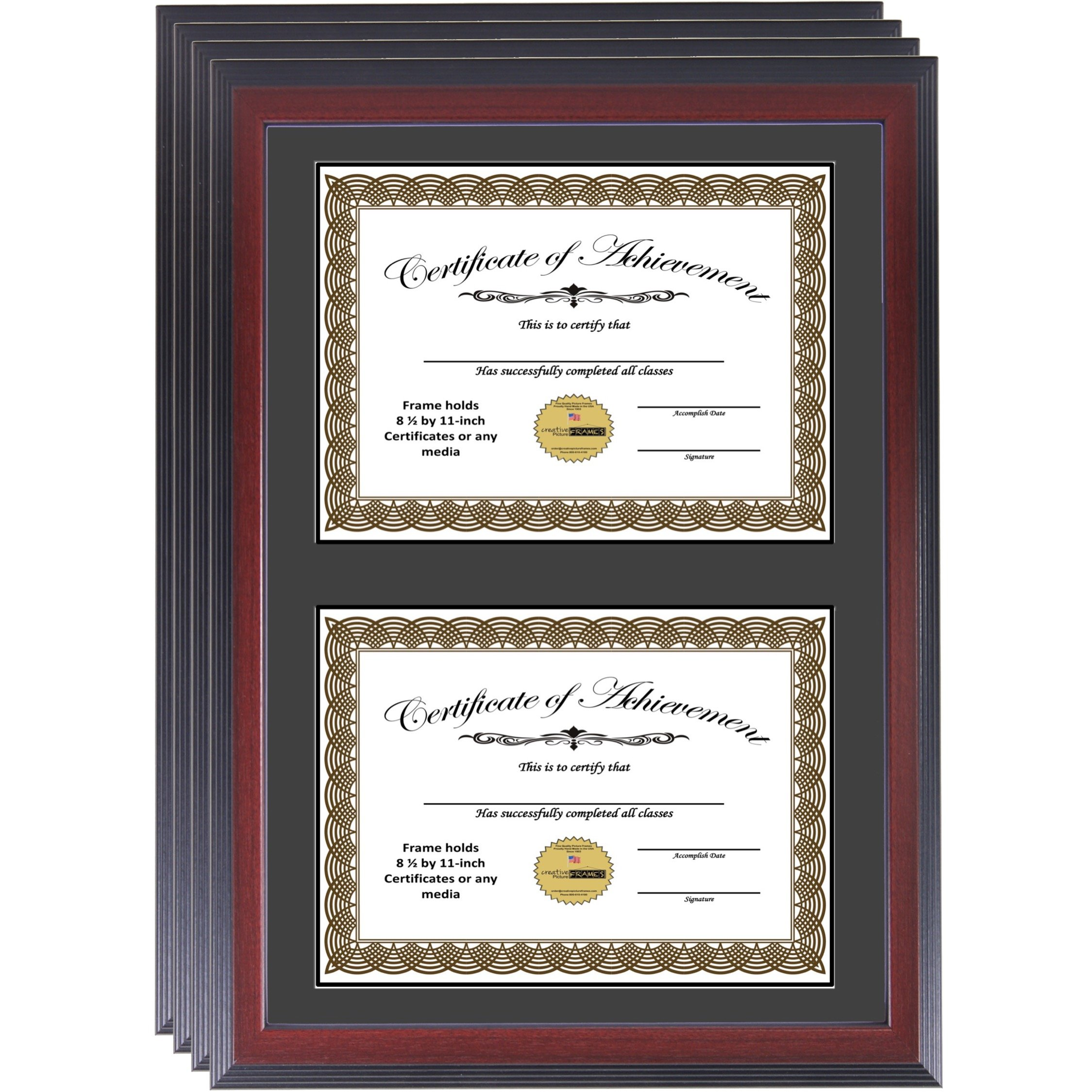 CreativePF [14x20mh-b] Mahogany Finish Double Diploma Frame with Black Mat, Holds Two 8.5 by 11-inch Documents with Wall Hanger (4-Pack)