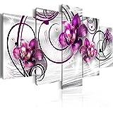 Quadro 200x100 cm ! Tre colori da scegliere - 5 Parti - Grande Formato - Quadro su tela fliselina - Stampa in qualita fotografica - fiori 020110-146 200x100 cm B&D XXL