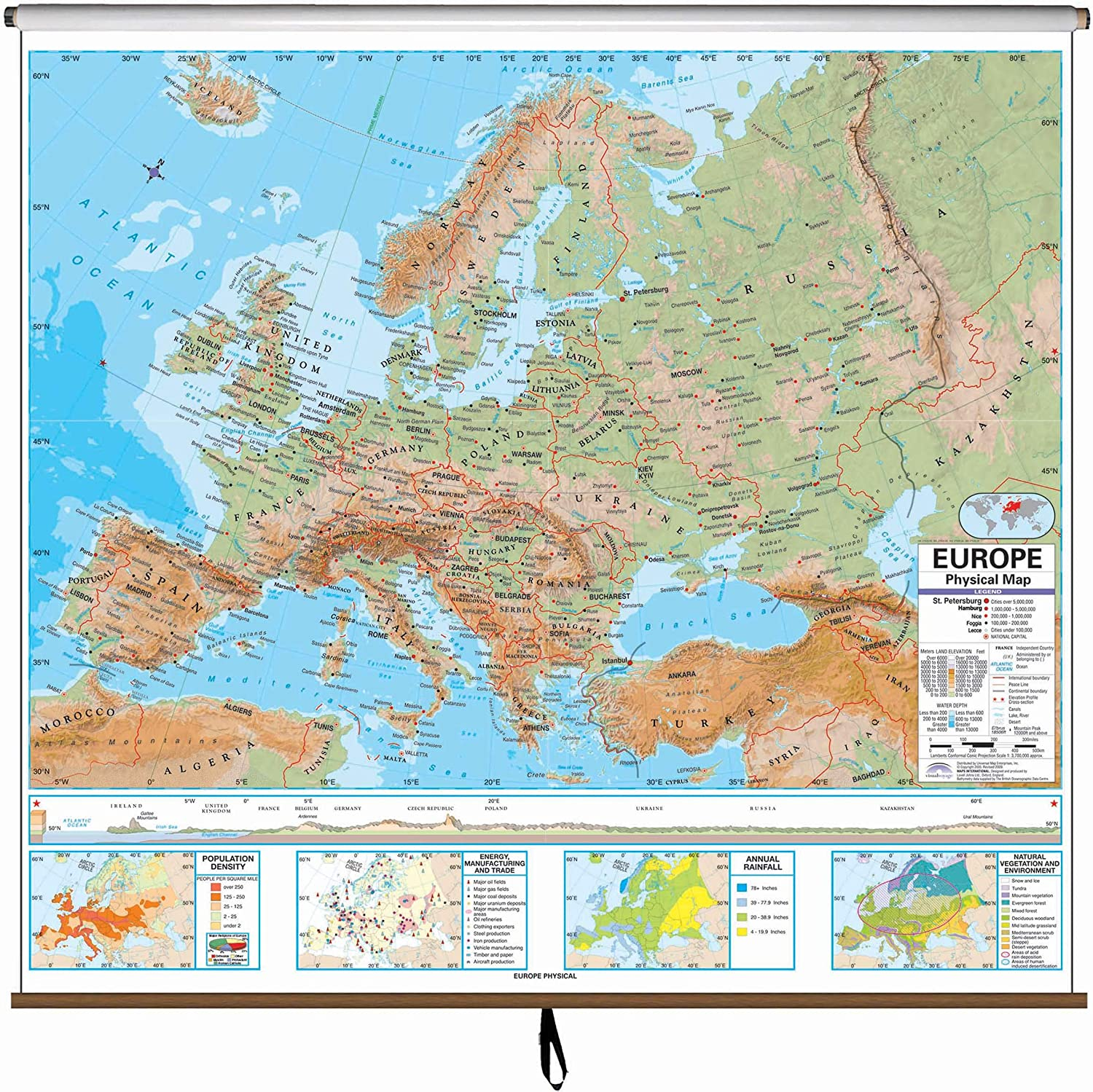 Amazon Com Europe Advanced Physical Classroom Map On Roller W Brackets Wall Maps Office Products