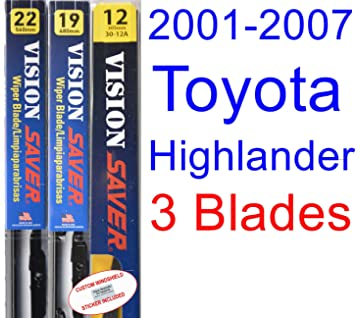 2001-2007 Toyota Highlander Replacement Wiper Blade Set/Kit (Set of 3 Blades