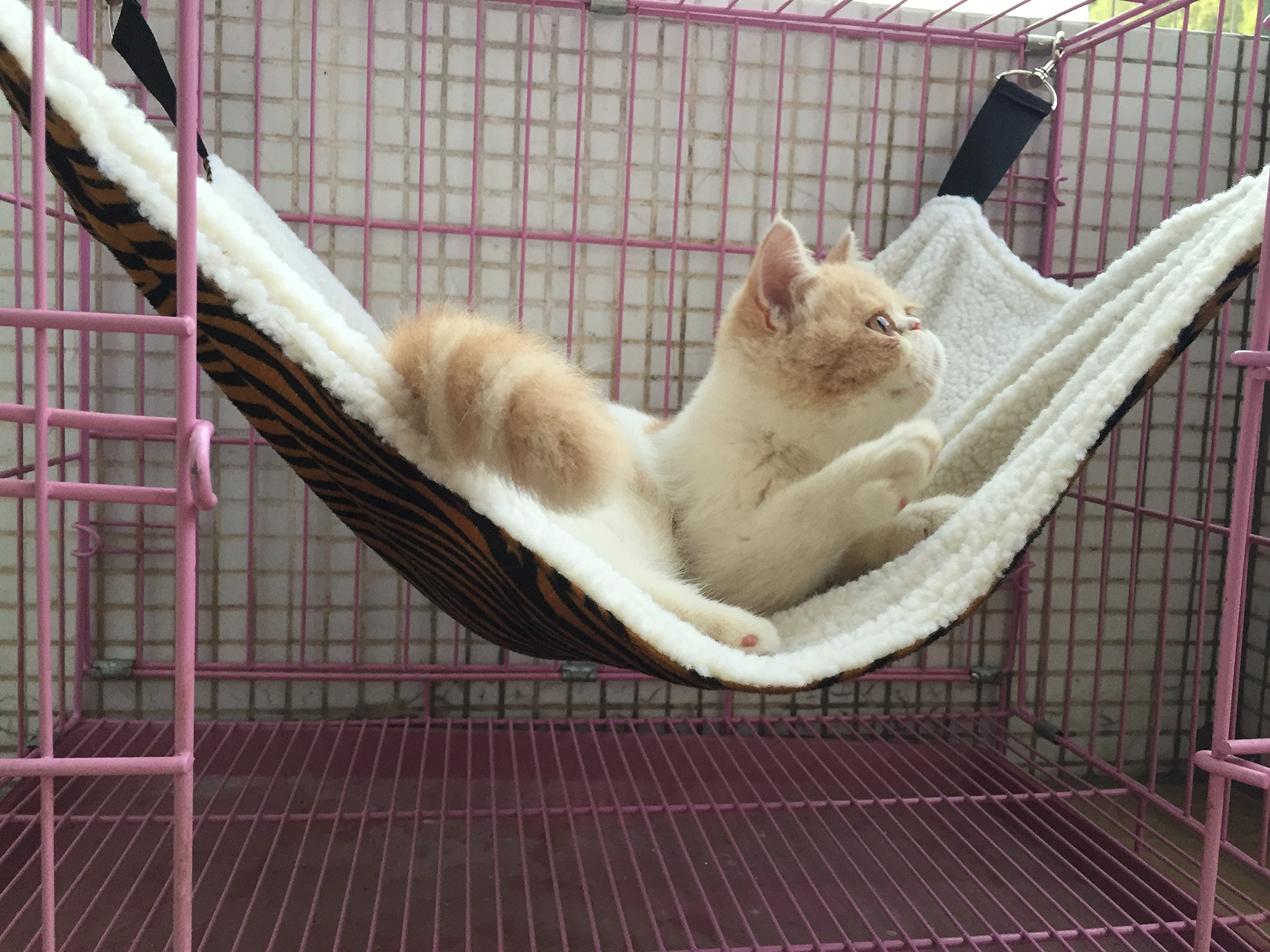 UsefulThingy Cat Hammock. Also for Ferret, Rat, Chinchilla, Rabbit, Small Dogs or Other Pet. Easy to Attach to a Cage. 3 Designs: Tiger by UsefulThingy