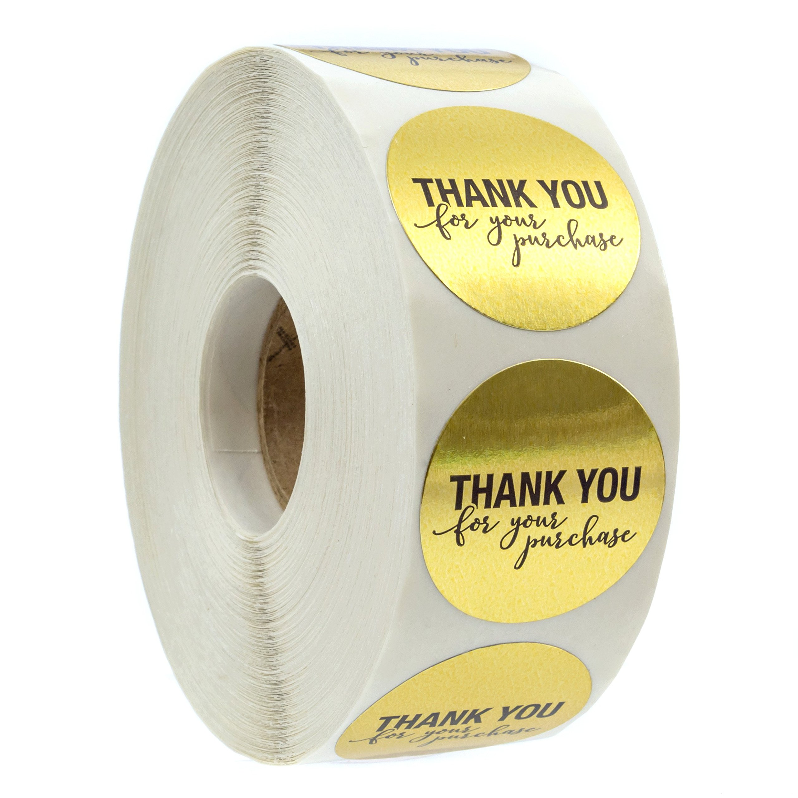 1.25'' Round Gold Foil Thank You for Your Purchase Stickers / 1000 Labels per Roll