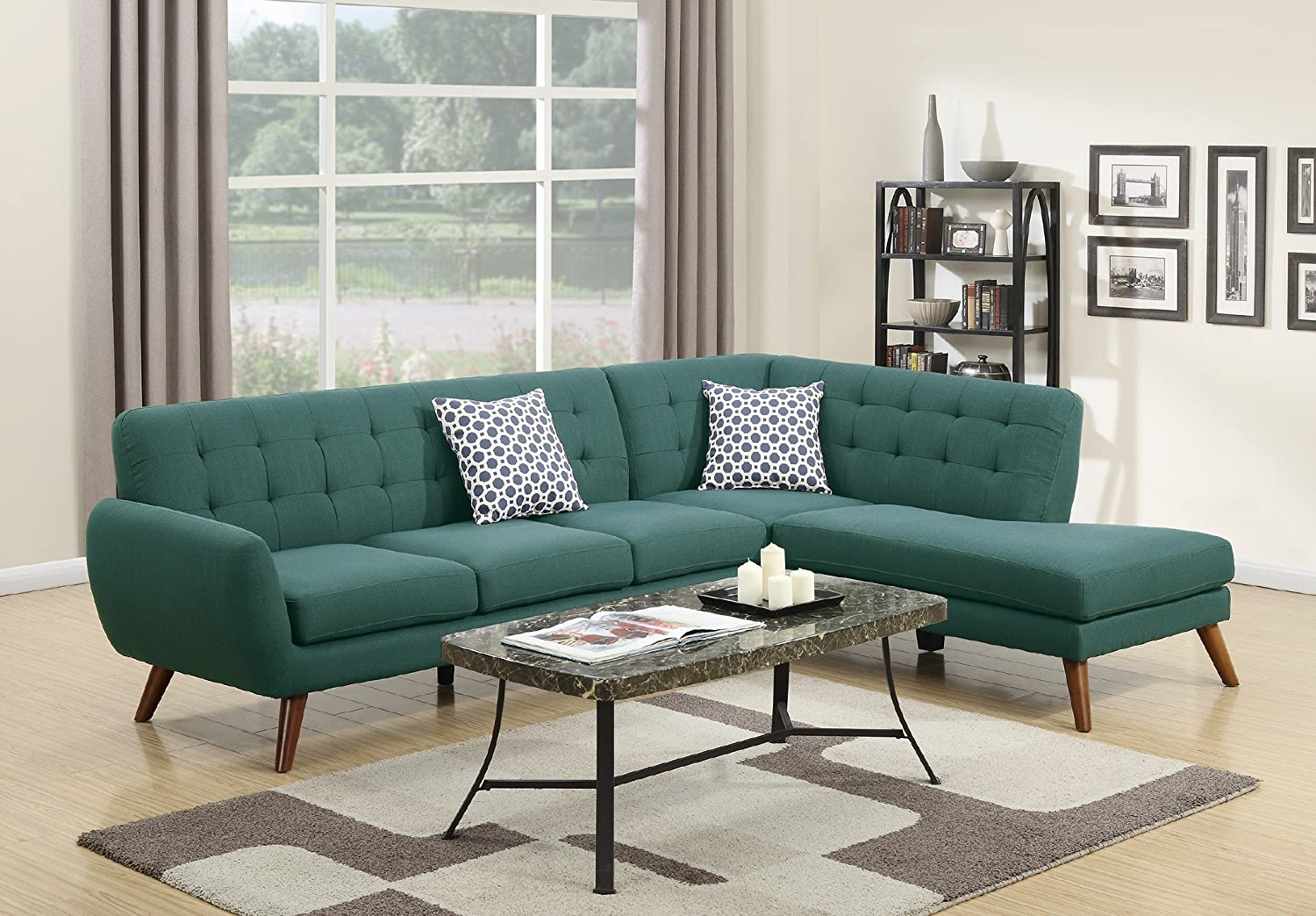 Madison Modern Retro Sectional Sofa (Ash Black)