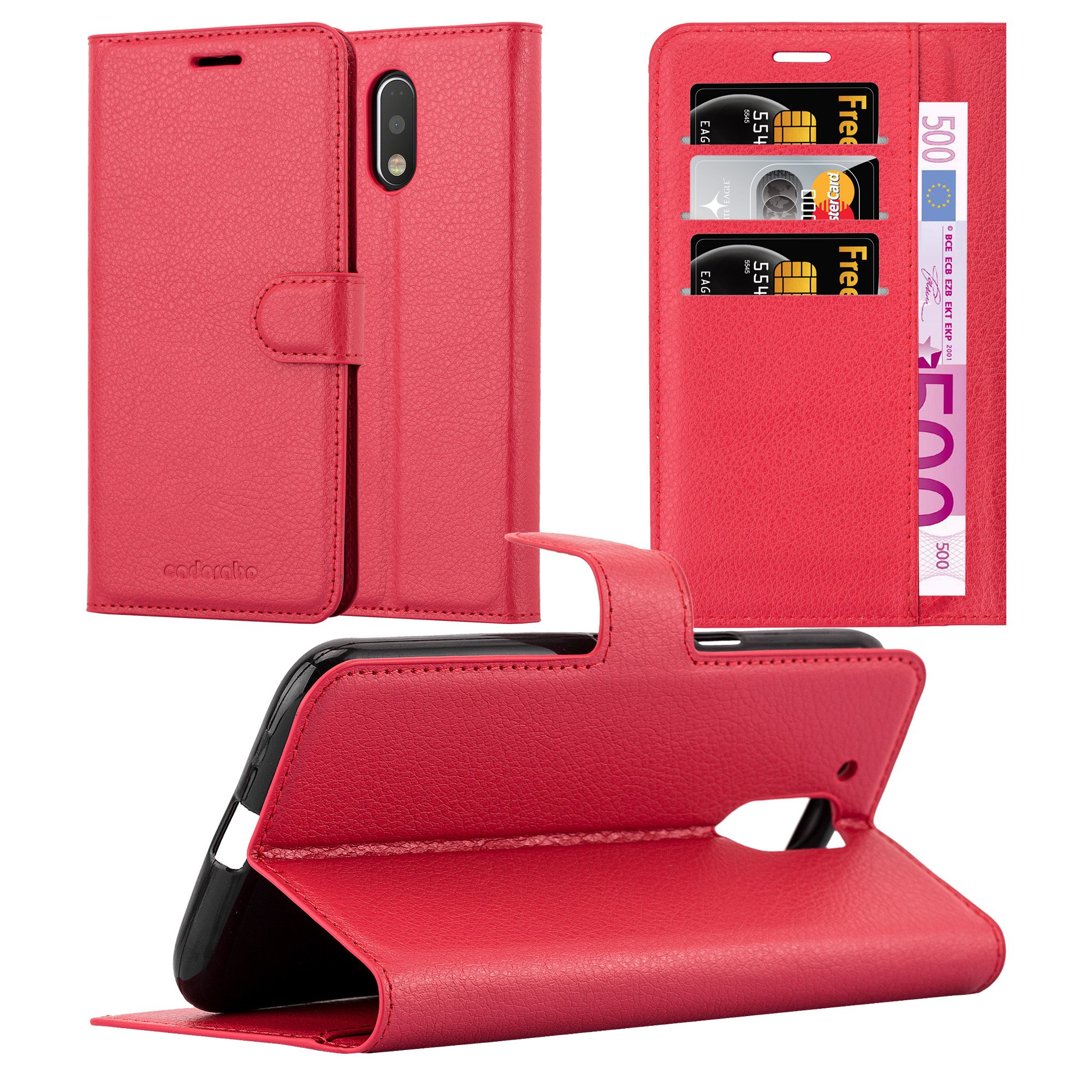 Cadorabo Case Works with Lenovo (Motorola) Moto G4 / G4 Plus Book Case in Candy Apple RED – with Magnetic Closure, Stand Function and Card Slot – Wallet Case Etui Cover PU Leather Flip