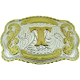 Initial Letters Western Style Cowboy Rodeo Gold Large Belt Buckles (Large Square, T LETTER)