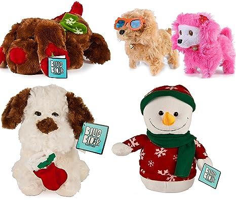 4 pack holiday christmas plush stuffed animal set dog penguin snowman kids toys gift - Christmas Plush Toys
