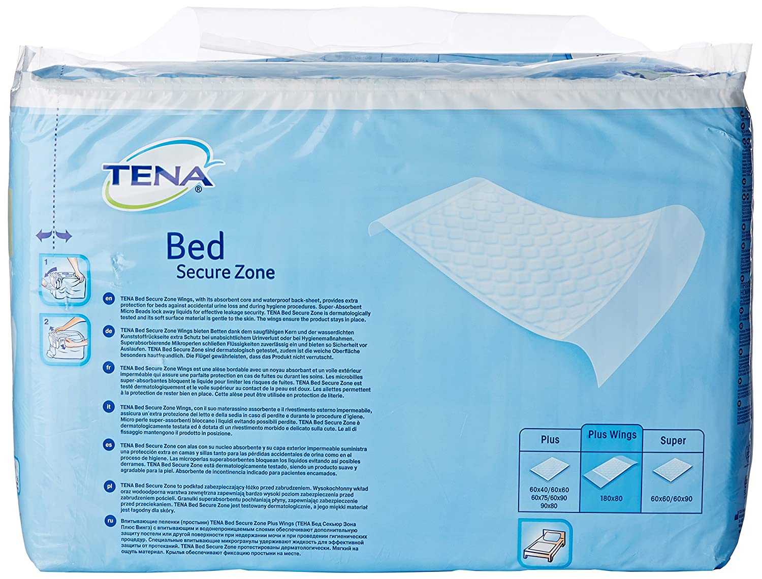 tena bed plus wings 80 x 180 cm pack of 20 sheets amazon co uk