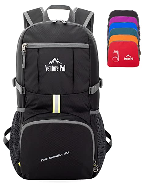 67359342dfa6 Amazon.com   Venture Pal 35L Travel Backpack - Packable Durable Lightweight  Hiking Backpack Daypack (Black)   Sports   Outdoors