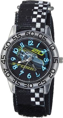 Amazon Com Disney Boys Cars 3 Jackson Analog Quartz Watch With Nylon Strap Black 15 Model Wds000290 Watches