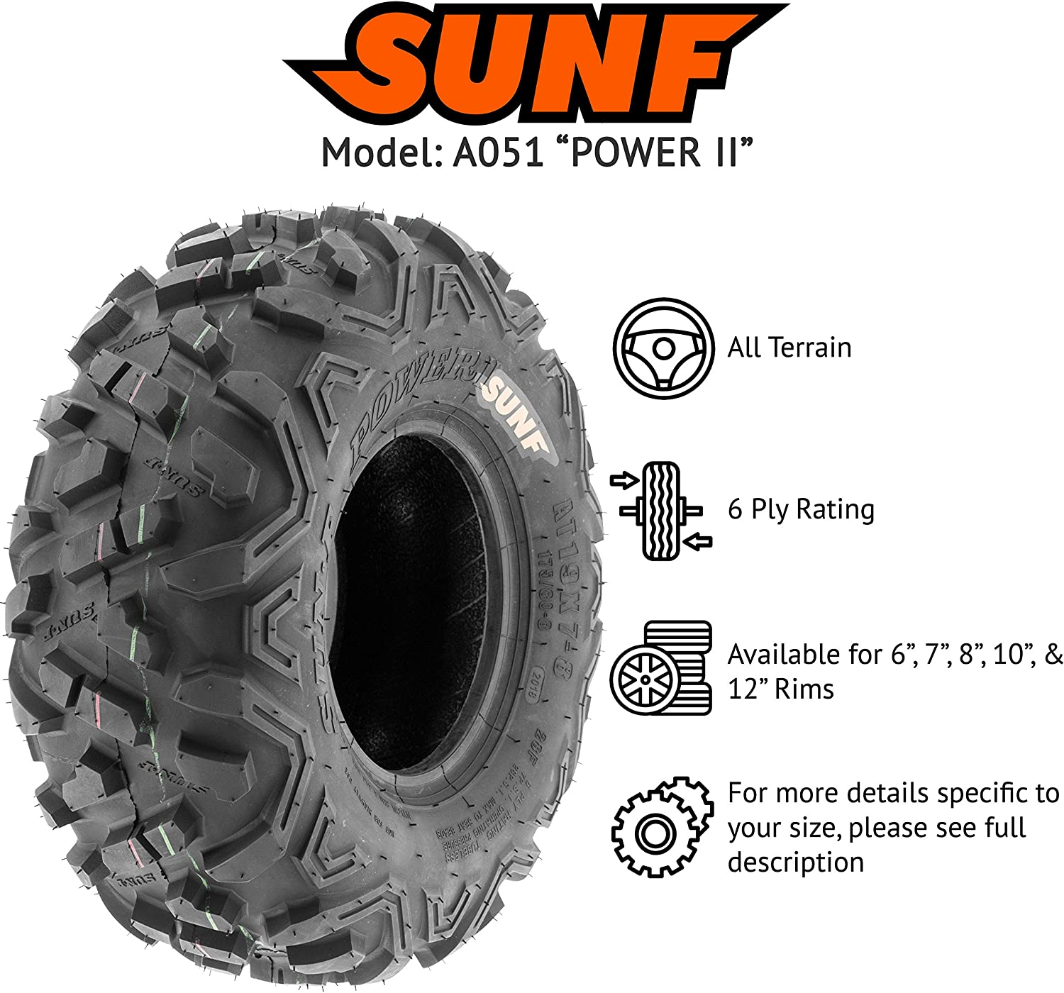 4 FULL SET of  SUNF ATV GO KART Tires 145//70-6 145//70x6  6 Ply //A-015