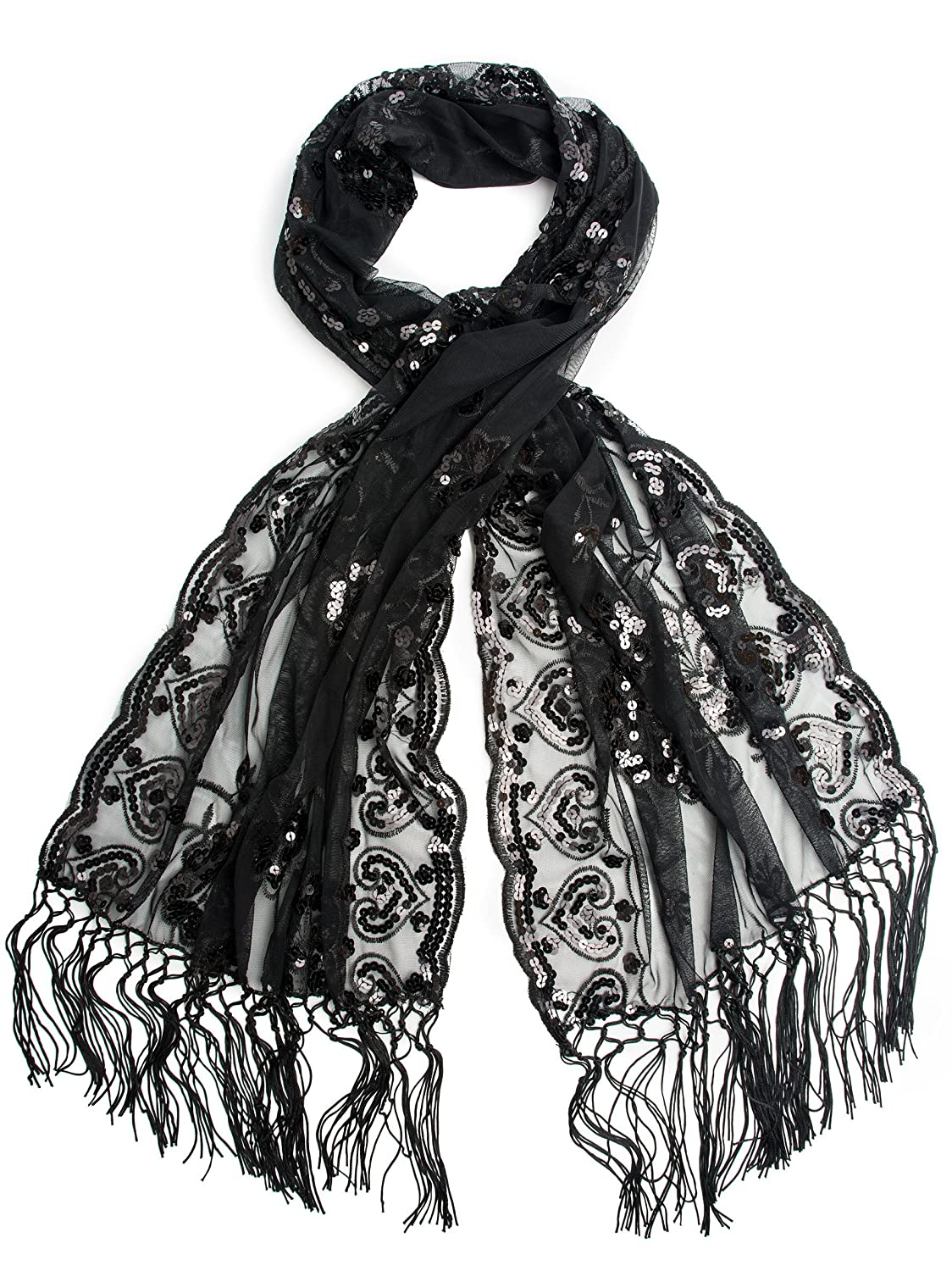Vintage Scarves- New in the 1920s to 1960s Styles Black Madison Shawl Long Fringe Sequin Evening Wrap $14.95 AT vintagedancer.com