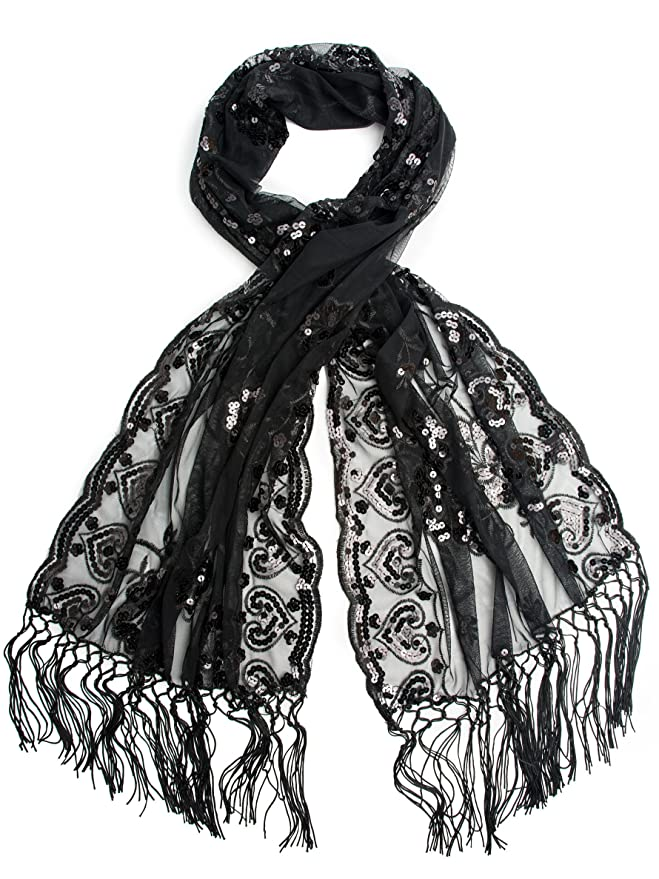 Vintage Scarves- New in the 1920s to 1960s Styles Madison Shawl Long Fringe Sequin Evening Wrap $16.95 AT vintagedancer.com