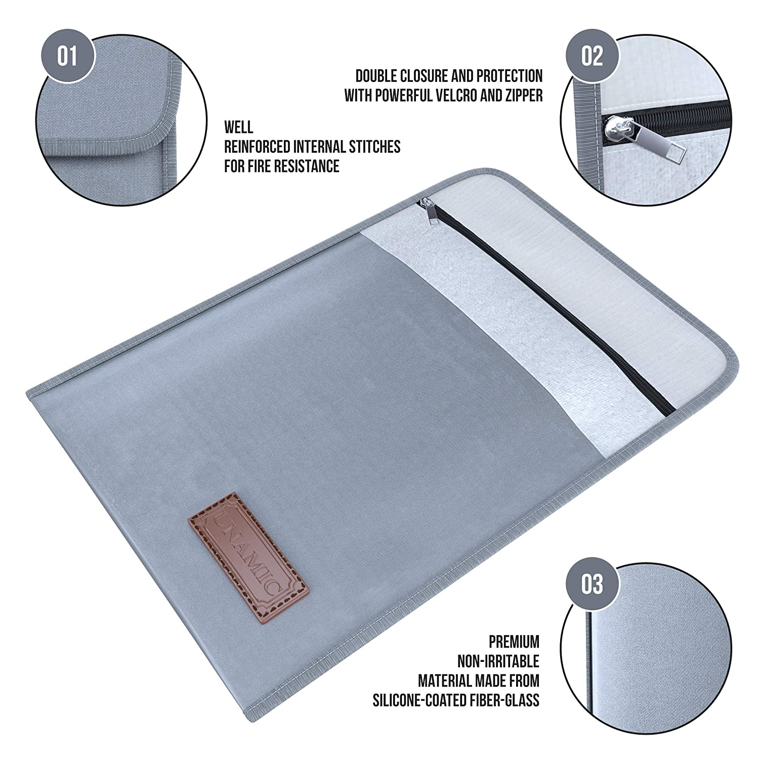 2 Pack Bandle - Waterproof Bags NON-ITCHY Fiber-glass Protection Fire Resistant Pouch Foldable File Fire-Proof Safe Storage Pouch for Passport Money Jewelry Documents Cash 15 x 11 Fireproof Bag