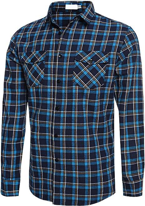 Mens Flannel Plaids Casual Shirts Cotton Slim Fit Long Sleeve Dress Shirt Top