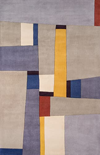 Momeni Rugs New Wave Collection, 100 Wool Hand Carved Tufted Contemporary Area Rug, 2 x 3 , Grey