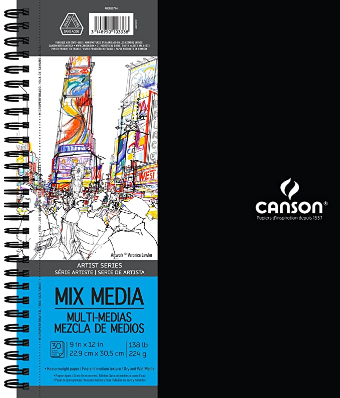 5.5 x 8.5 Inch Double Sided Fine and Medium Texture Heavyweight French Paper Canson Mix Media Art Book 138 Pound 40 Sheets Side Wire Bound