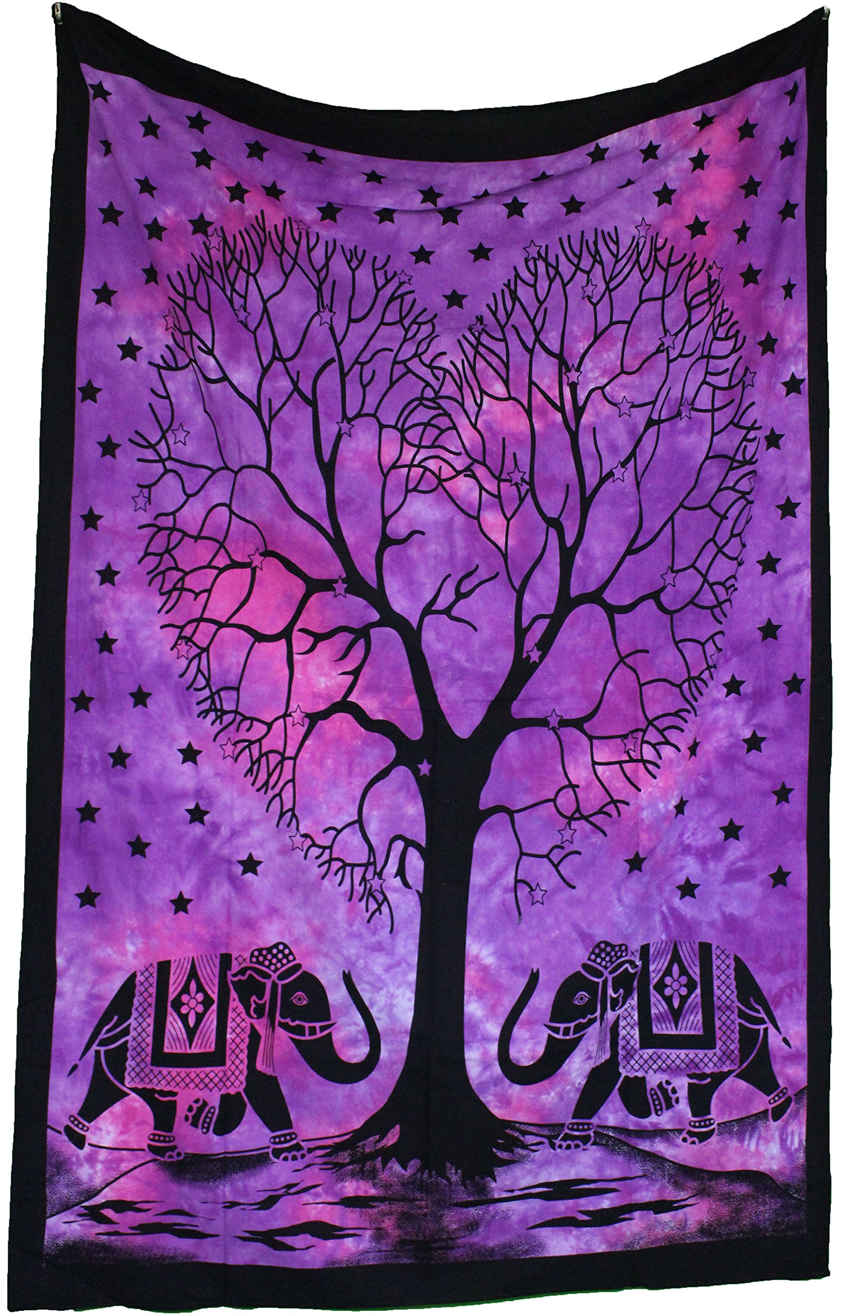 Amitus Exports TM Premium Quality 1 X Heart Tree - Border Tie Dye Purple Color Size 81''X53'' (Approx.) Inches Indian Mandala Tapestry Thin Cotton Fabric Throws (Handmade In India)