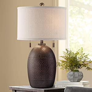 Byron Rustic Farmhouse Industrial Table Lamp Hammered Textured Bronze White Fabric Drum Shade Decor for Living Room Bedroom House Bedside Nightstand Home Office Reading Family - Franklin Iron Works