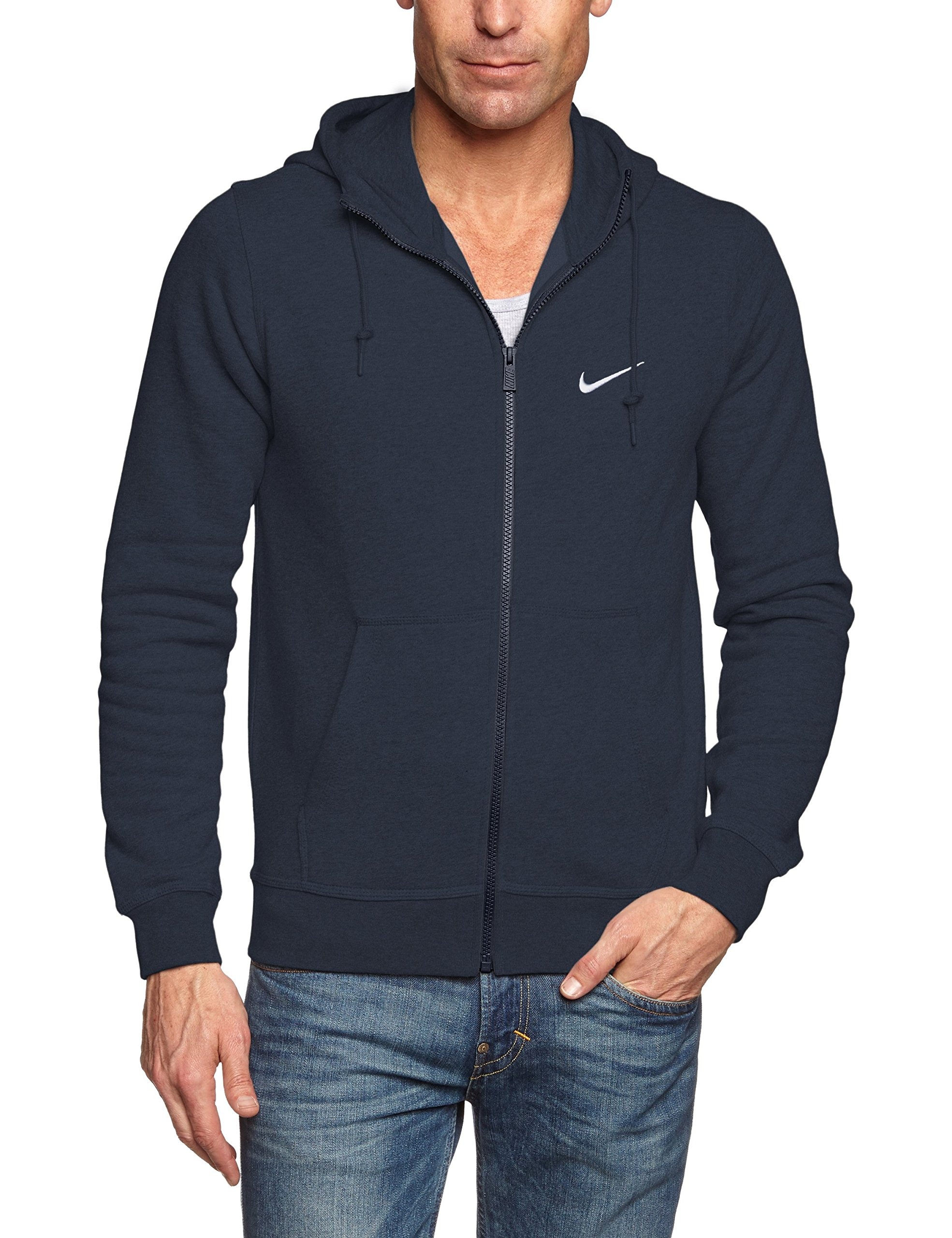 Nike Mens Club FZ Hoodie Obsidian Navy Blue/White 611456-473 Size X-Large