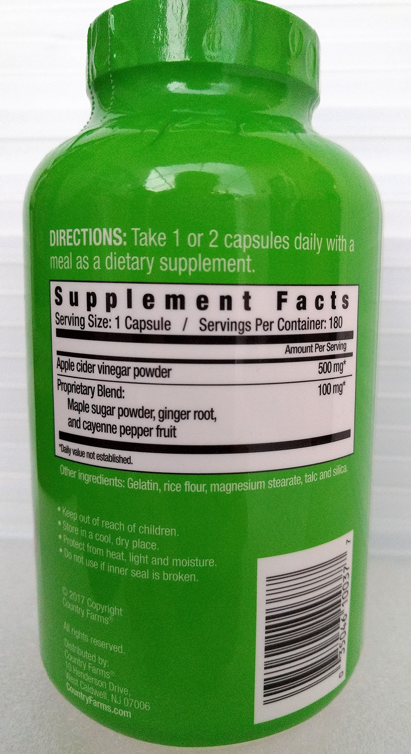 Country Farms Apple Cider Vinegar 500mg 180 capsules with Ginger, Cayenne and Maple by Country Farms (Image #2)