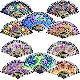 Grosun 10pcs Spanish Floral Folding Hand Fan Sequin Fabric Folding Handheld Hand Fan, Random Color