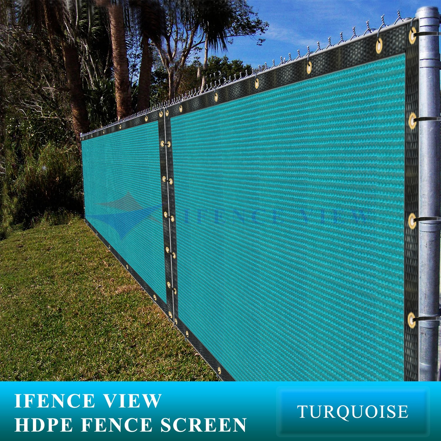 Ifenceview 6'x3' to 6'x50' Turquoise (Green) Shade Cloth/Fence Privacy Screen Fabric Mesh Net for Construction Site, Yard, Driveway, Garden, Railing, Canopy, Awning UV Protection (6' x 8')
