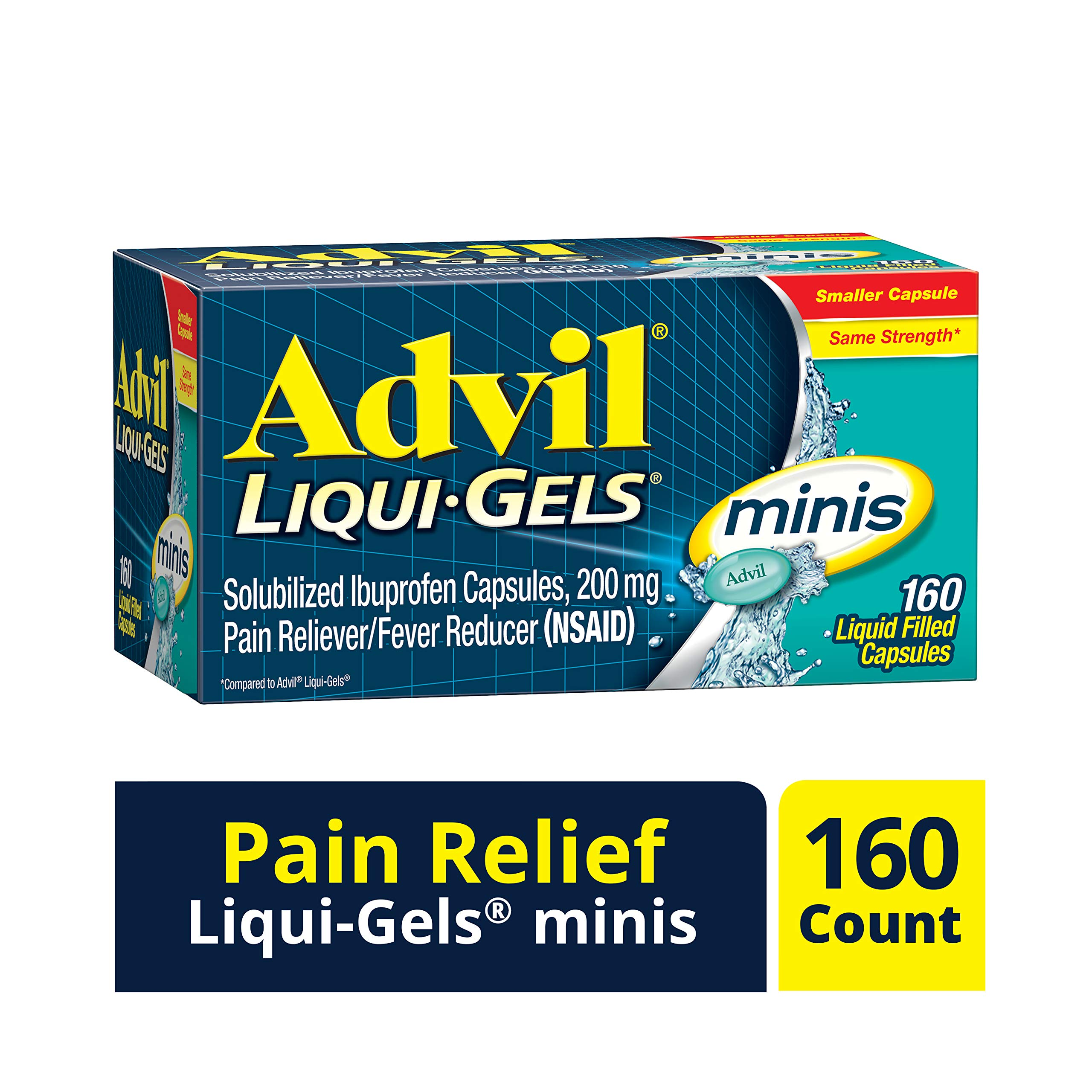 Advil Liqui-Gels Minis (160 Count) Pain Reliever/Fever Reducer Liquid Filled Capsule, Fast Pain Relief for Headaches, Back Pain, Muscle Pain, 200mg Ibuprofen, Easy to Swallow by Advil