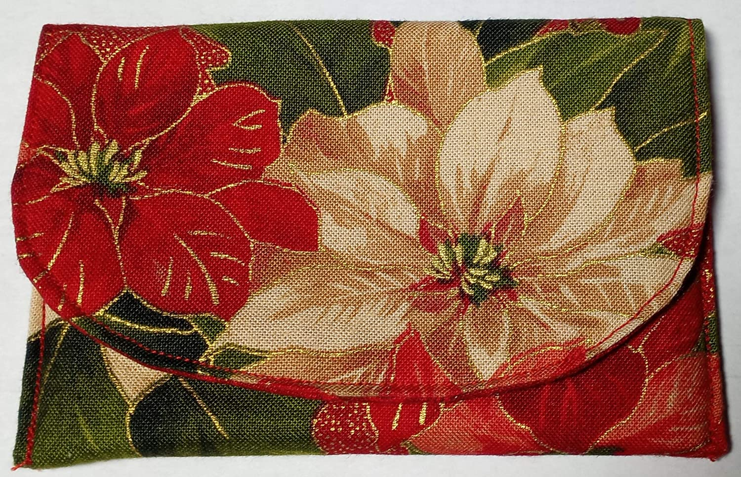 Business Cards Mini Wallet ID Great Gift. Gift Card Dollar Bills Holder Red Poinsettia Fabric Credit Card