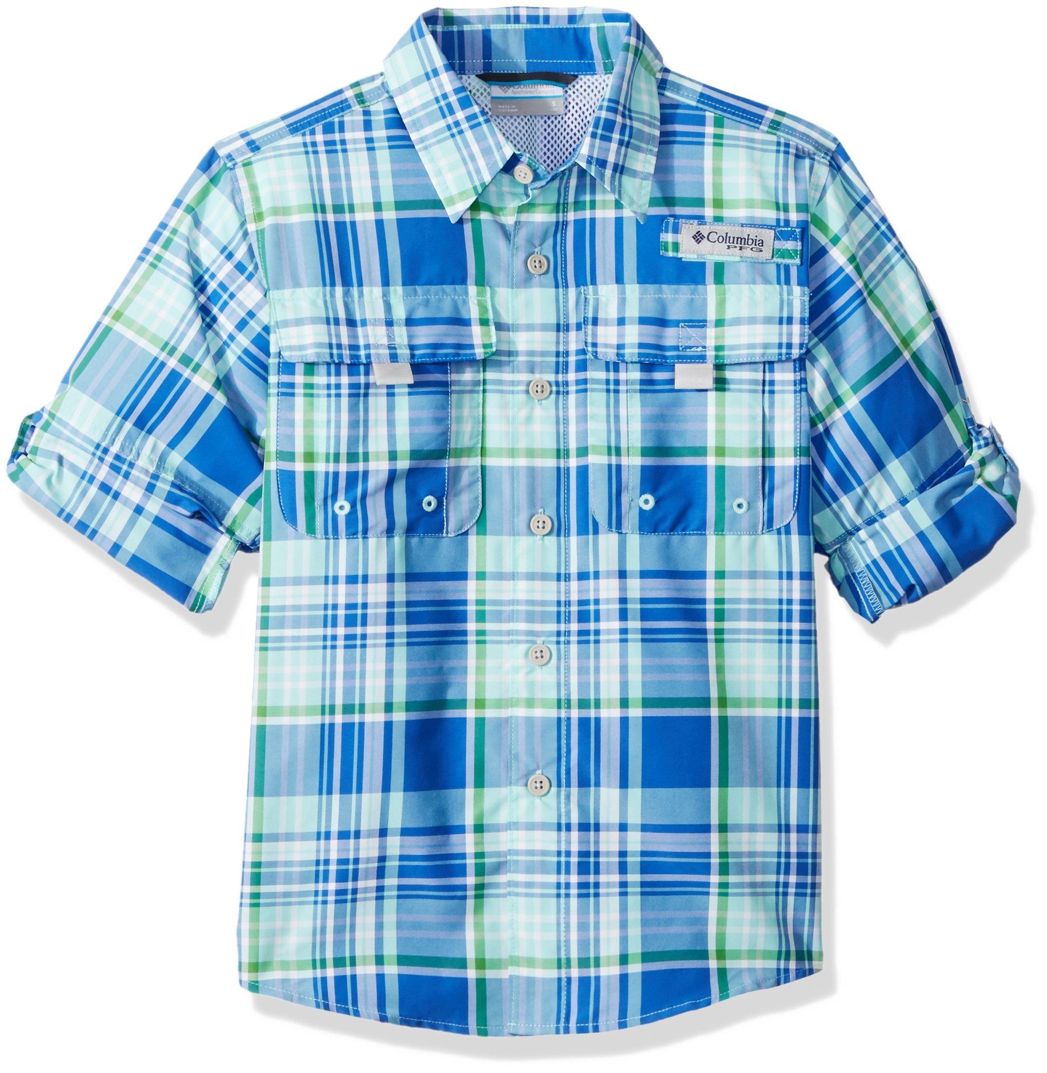 Columbia Big Boy's Super Bahama Long Sleeve Shirt, Medium, Gulf Stream Plaid