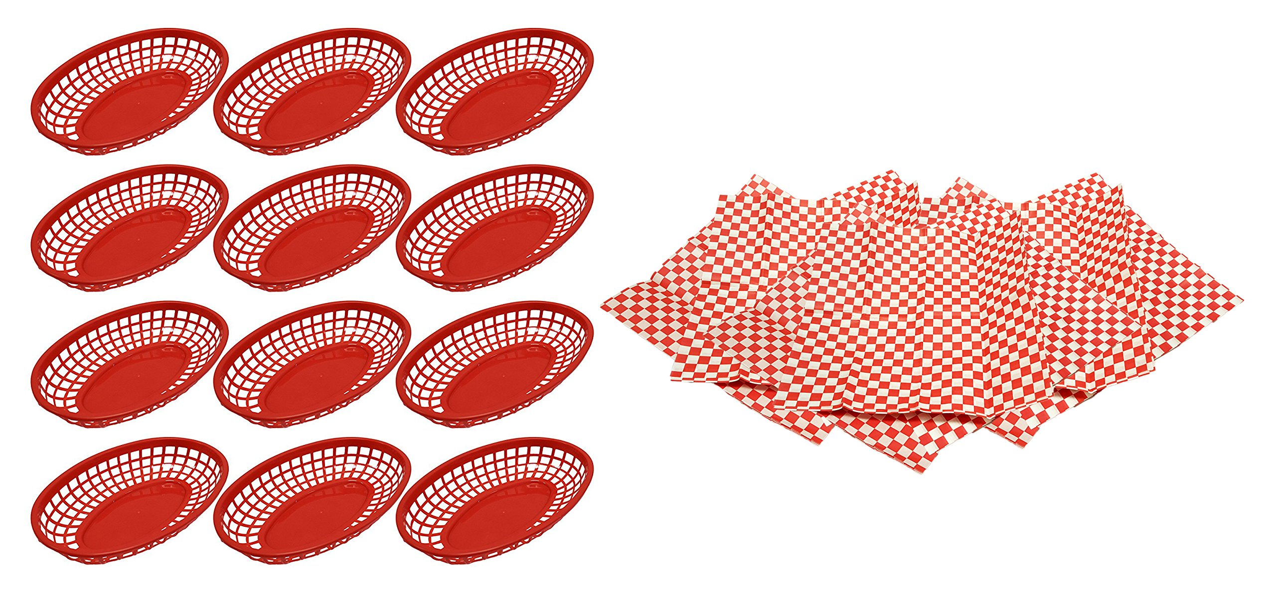 Set of 12 Deli Baskets with 36 Basket Liners! 9.25'' x 5.67'' Oval Restaurant Baskets with 12'' x 12'' Liners Perfect for Restaurants, Deli's, Parties, Events, and More! (36 Liners & 12 Baskets, Red)