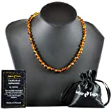 Baltic Amber Necklaces for Adults + AMBER EARRINGS - Headache, Migraine, Sinus, Arthritis, Carpal Tunnel, Nursing Pain Relief (17.7 inches (45 cm), Cognac)