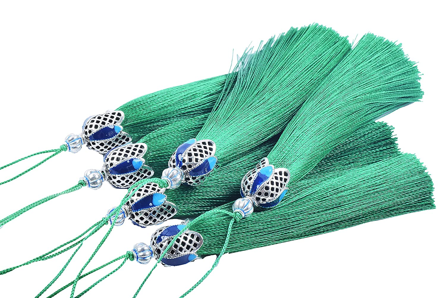 KONMAY 10PCS 8.5cm(3.4'') Craft Tassels with Hollowed Antique Silver Caps and Hanging Loops for Jewelry Making, Crafts Designs, Decorations