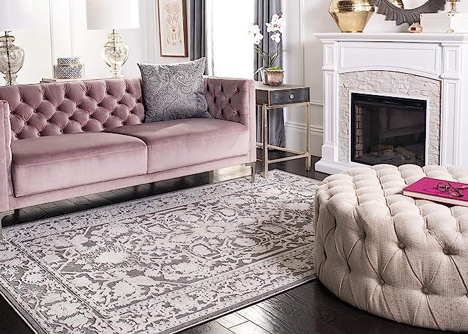 Safavieh Reflection Collection Rft665b Vintage Distressed Area Rug 9 X 12 Dark Grey Cream Furniture Decor