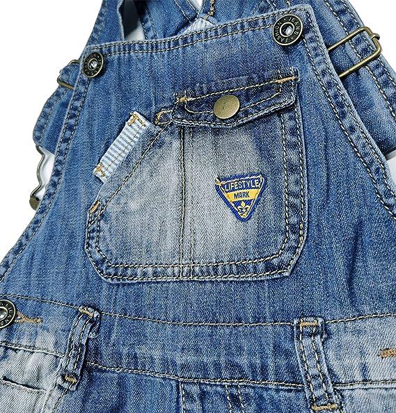 Kidscool Space Baby /& Little Boys Big Bib Pocket Stripe Cuffed Bottom Denim Shortalls