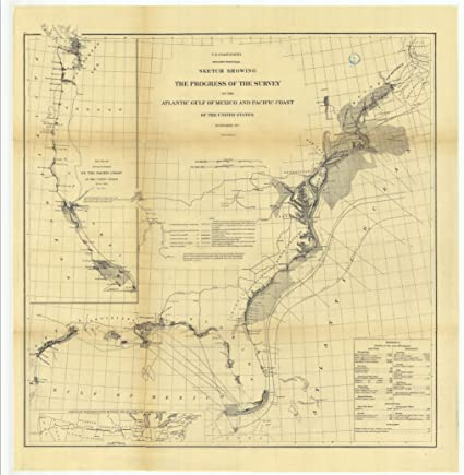 C1873 24 X 32 Reprinted Old Nautical Chart Drawing Sketch Showing Progress Survey On